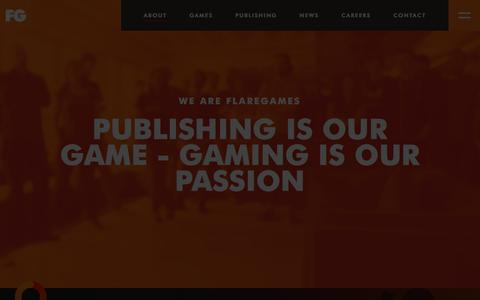 Screenshot of About Page flaregames.com - About Us | Flaregames - captured Sept. 10, 2018