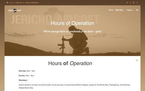 Screenshot of Hours Page jerichoairsoft.com - Hours of Operation - captured Oct. 27, 2014