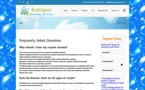 Screenshot of FAQ Page rodriguezcleanpro.com - Rodriguez Cleaning Services frequently asked questions about carpet cleaning - captured Oct. 6, 2014