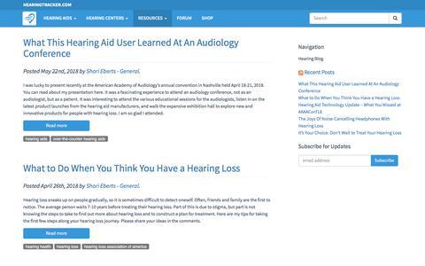 Screenshot of Blog hearingtracker.com - Hearing Blog - Articles about hearing aids and hearing loss. - captured Dec. 13, 2019