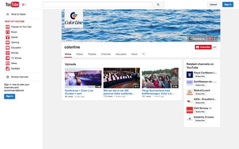 Screenshot of YouTube Page youtube.com - colorline  - YouTube - captured Oct. 23, 2014