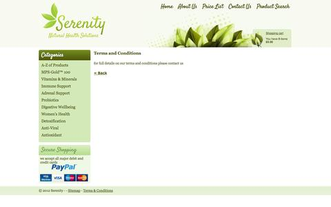 Screenshot of Terms Page serenityallergy.co.uk - Serenity Allergy Testing Terms and Conditions - captured Oct. 26, 2014