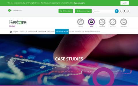 Screenshot of Case Studies Page restore.co.uk - Case Studies – Our Customer Success Stories | Restore Digital - captured July 27, 2018