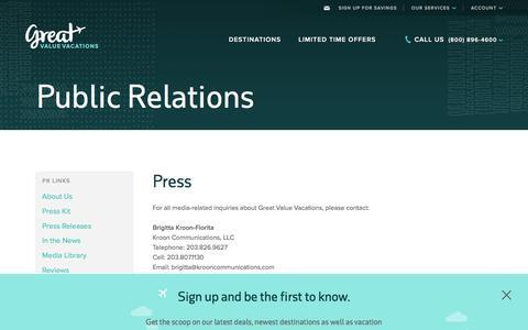 Screenshot of Press Page greatvaluevacations.com captured May 24, 2017