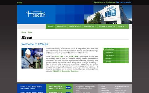 Screenshot of About Page h2scan.com - H2scan | Hydrogen leak detection sensor gas process monitoring sensing systems Valencia CA USA - captured July 18, 2014
