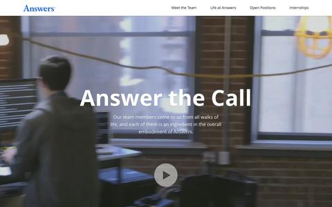 Screenshot of Jobs Page answers.com - Careers at Answers - Answer the call - captured Dec. 6, 2015