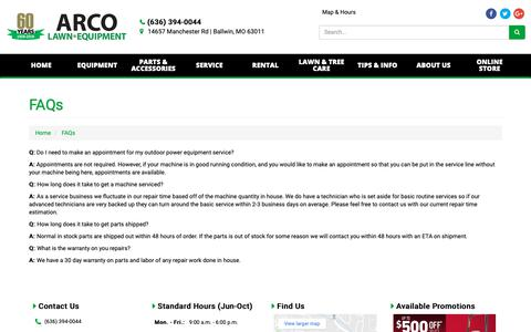 Screenshot of FAQ Page arcolawn.com - FAQs ARCO Lawn Equipment Ballwin, MO (636) 394-0044 - captured Oct. 4, 2018