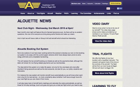 Screenshot of Press Page alouette.org.uk - Alouette Flying Club - Latest news - captured Feb. 5, 2016