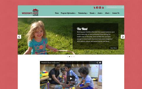 Screenshot of Home Page wisdomshope.org - Wisdom's Hope   - captured Sept. 30, 2014