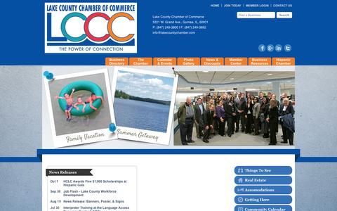 Screenshot of Home Page lakecountychamber.com - Lake County Chamber of Commerce - Home - captured Oct. 1, 2014