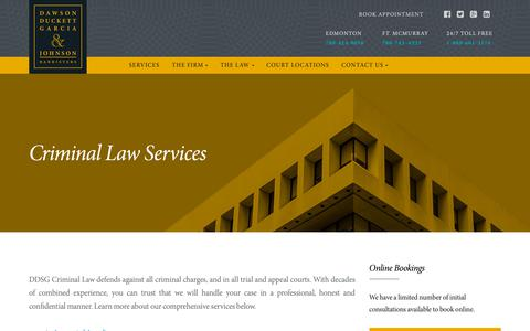 Screenshot of Services Page dsscrimlaw.com - Criminal Law Practice Areas | DDSG Criminal Lawyers Edmonton & Fort McMurray - captured Oct. 7, 2018