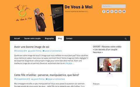 Screenshot of Blog devousamoi-metz.com - Blog De Vous à Moi – Conseils sur votre Situation Amoureuse - captured Oct. 22, 2018