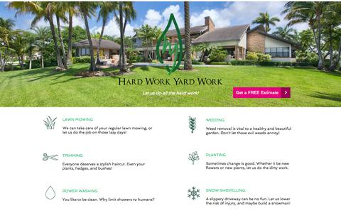 Screenshot of Home Page hardworkyardwork.com - Hard Work Yard Work - captured Sept. 30, 2014