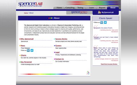 Screenshot of About Page spencer.com - SpencerLab - About - captured Oct. 6, 2014
