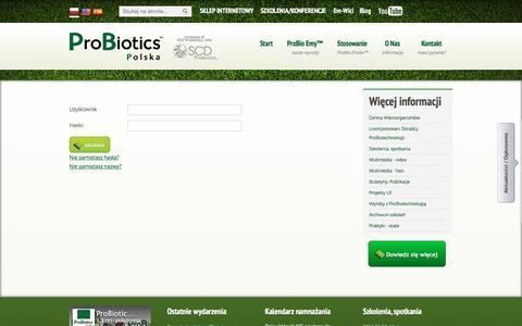 Screenshot of Login Page probiotics.pl - User login - captured Jan. 30, 2016