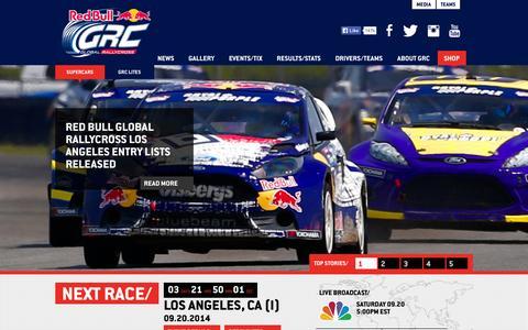 Screenshot of Home Page redbullglobalrallycross.com - Red Bull GRC - captured Sept. 16, 2014