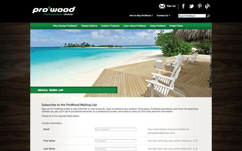 Screenshot of Signup Page prowoodlumber.com - Email Sign Up - ProWood Lumber - captured Sept. 30, 2014