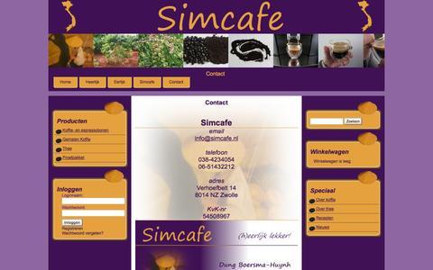 Screenshot of Contact Page simcafe.nl - Contact - captured Sept. 30, 2014