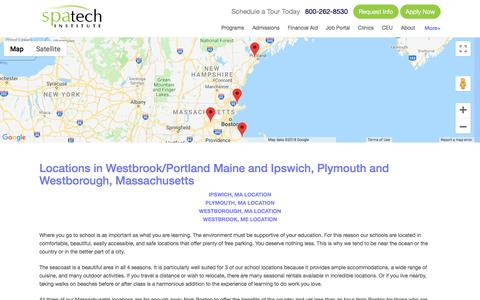 Screenshot of Locations Page spatech.edu - Spa Tech Institute - School Locations in Maine and Massachusetts - captured Sept. 20, 2018