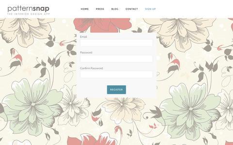 Screenshot of Signup Page patternsnap.com - Sign Up to Patternsnap   patternsnap - captured Nov. 15, 2016