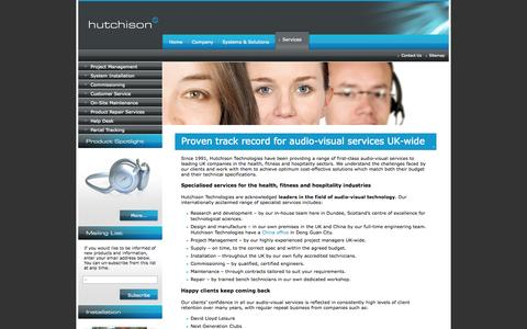 Screenshot of Services Page hutchison-t.com - Services - Hutchison Technologies - captured Oct. 3, 2014
