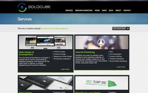 Screenshot of Services Page solocube.com - Creative Design and Inbound Marketing Agency in Vancouver: Services | Solocube Creative - captured Sept. 18, 2014