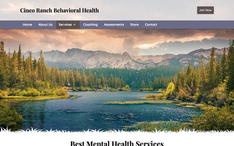 Screenshot of Services Page cincoranchbehavioralhealth.com - Mental Health Counseling in Texas - captured Dec. 8, 2018