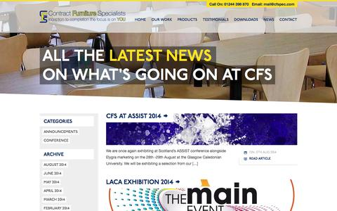 Screenshot of Press Page cfspec.com - Contract Furniture Specialists News from the experts in school dining room makeovers - captured Oct. 3, 2014