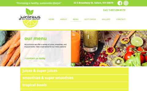 Screenshot of Menu Page juiciliciousnh.com - Menu | Juicilicious | Salem, NH - captured July 10, 2018