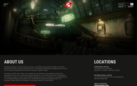 Screenshot of About Page 2k.com - 2k.com - About - 2K - captured Oct. 30, 2018