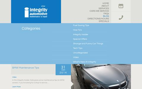 Screenshot of Blog integrityautorepair.com - Integrity Auto Repair - Integrity, it's more than a name…it's how we do business. - captured Nov. 3, 2014