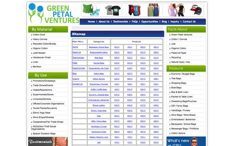 Screenshot of Site Map Page greenpetalventures.com - Welcome to Green Petal Ventures - Bags, T-Shirts, Caps and Aprons: We make them all in an ethical, fair waged business environment with 100% natural fabrics. - captured Sept. 30, 2014
