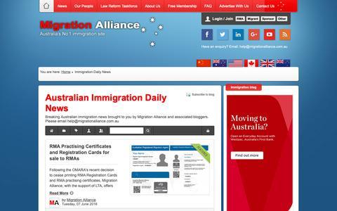 Screenshot of Press Page migrationalliance.com.au - Immigration Daily News - Australian Immigration Daily News - Migration Alliance - captured Dec. 13, 2018