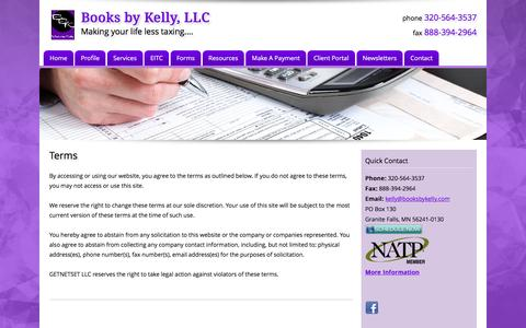 Screenshot of Terms Page booksbykelly.com - Terms   Books by Kelly - captured Feb. 8, 2016