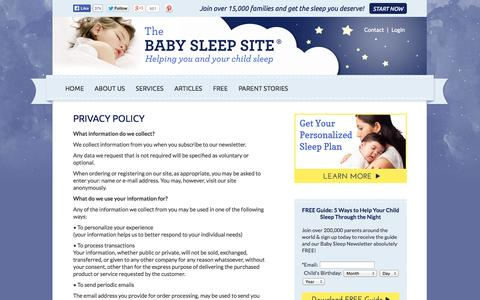 Screenshot of Privacy Page babysleepsite.com - Privacy Policy | The Baby Sleep Site - Baby Sleep Help | Toddler Sleep Help | Personalized Sleep Consulting - captured Sept. 19, 2014