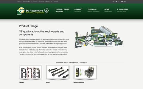 Screenshot of Products Page bgautomotive.co.uk - Product Range –  BG Automotive - captured Dec. 28, 2015