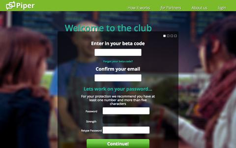 Screenshot of Signup Page piperup.com - Sign Up - captured Sept. 12, 2014