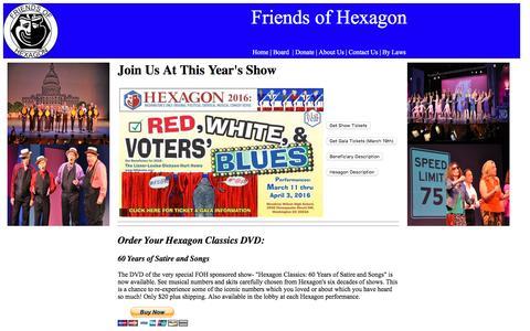 Screenshot of Home Page friendsofhexagon.org - Friends of Hexagon - captured June 1, 2016