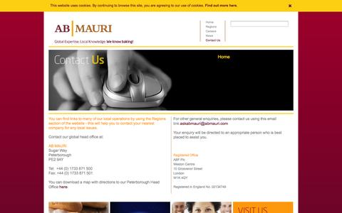 Screenshot of Contact Page abmauri.com - AB Mauri Contact Us - captured Sept. 25, 2014