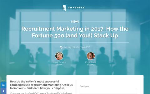 Screenshot of Landing Page smashfly.com - Recruitment Marketing in 2017: How the Fortune 500 (and You!) Stack Up - captured Feb. 8, 2019