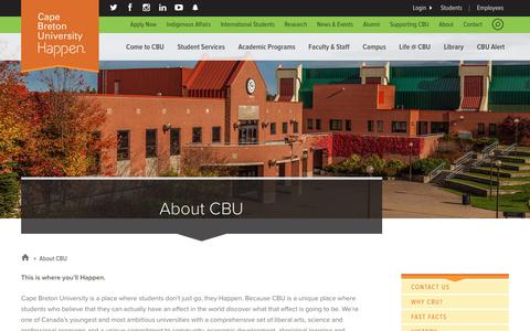 Screenshot of About Page cbu.ca - About CBU | Cape Breton University - captured Feb. 9, 2018