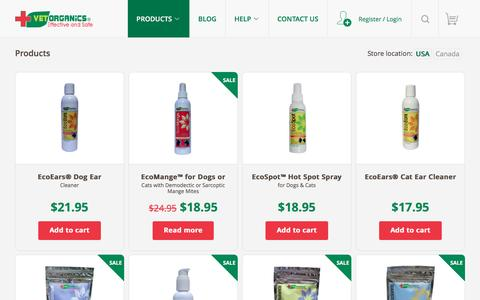 Screenshot of Products Page vet-organics.com - Products : Dog Ear Cleaning Solution | Hot Spot Spray For Dogs | Ecoears Dog Ear Cleaner | Home Remedies For Mange | Demodectic Mange - captured Aug. 12, 2016