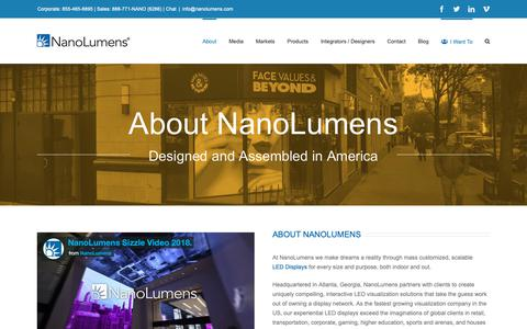 Screenshot of About Page nanolumens.com - About NanoLumens - NanoLumens - captured Feb. 13, 2019