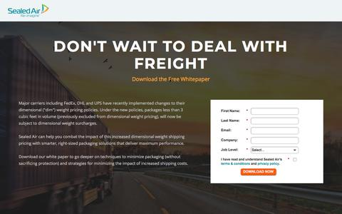 Screenshot of Landing Page sealedair.com - Dim Weight: Don't Wait To Deal With Freight - captured Nov. 9, 2017