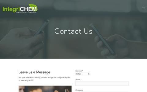 Screenshot of Contact Page integrichem.com - Contact — IntegriCHEM - captured Sept. 19, 2018