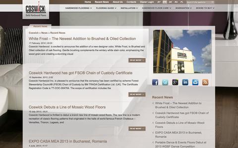 Screenshot of Press Page coswick.com - Recent News | Coswick Hardwood Floors - captured Oct. 3, 2014