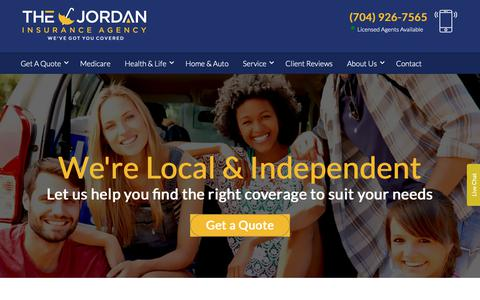 Screenshot of Home Page thejordaninsuranceagency.com - Charlotte Insurance Companies   Insurance Agency In Charlotte NC - captured Nov. 18, 2018