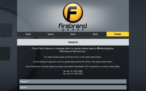 Screenshot of Contact Page firebrandgames.com - firebrandgames | Contact - captured Aug. 13, 2018