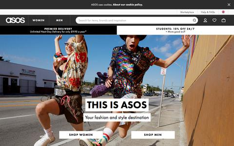 Screenshot of Home Page asos.com - ASOS | Online Shopping for the Latest Clothes & Fashion - captured Sept. 14, 2018