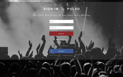 Screenshot of Login Page pulsd.com - A curated selection of New York's best events | pulsd - captured July 17, 2016